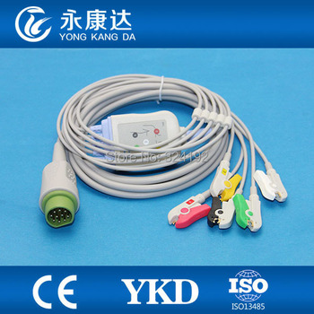 2pcs/pack Free shipping For 10pin one piece 5-leads series patient ECG cable with IEC Clip ecg leadwires