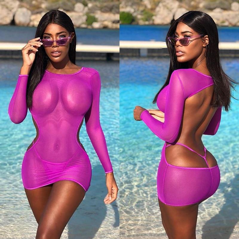 BKLD Women Bodycon Mini Dress Mesh Sheer Dress Summer Dresses Women 2019 Bohemian Long Sleeve Backless Club Wear Party Dress