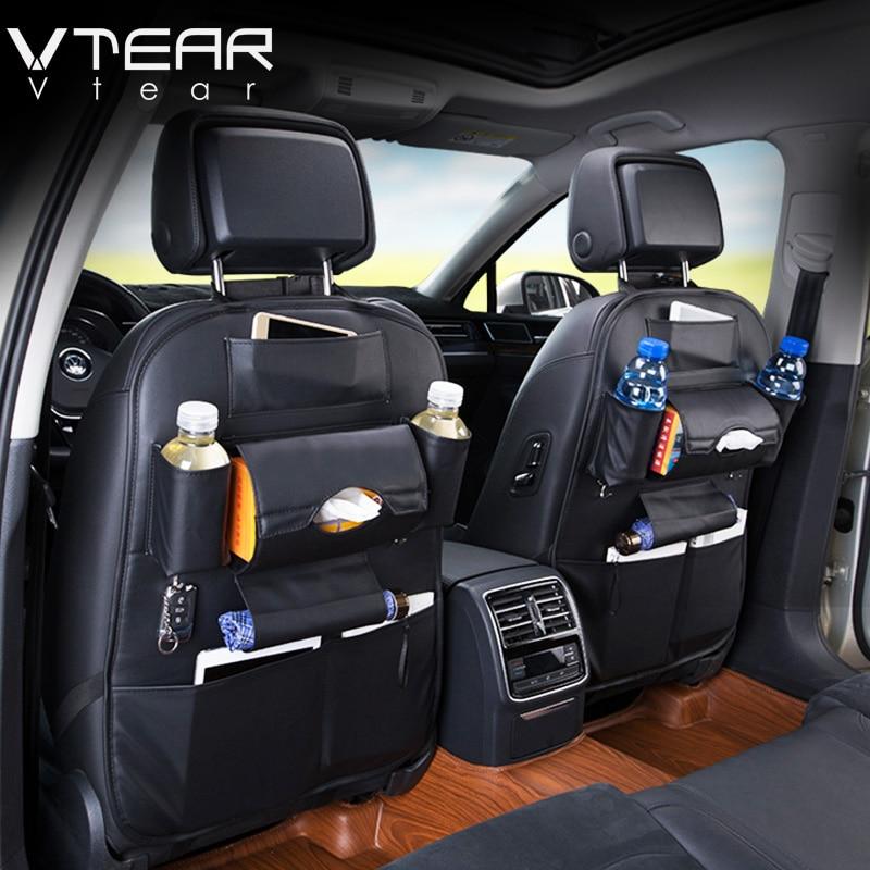 Vtear Universal Car Seat Back Storage Bag backseat bag Organizer Travel Pocket PU stowing tidying For lada granta accessories
