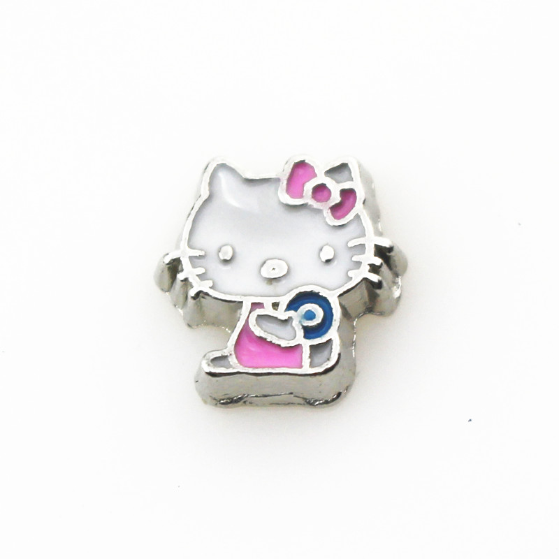 Wholesale 20pcs/lot Hello Kitty Floating Charms Living Glass Memory Lockets Floating Charm DIY Jewelry Charms