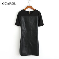 Women Brand Faux Leather Spliced Dresses Ladies Sexy Mini Bodycon Dresses For Party Club Slim Trendy