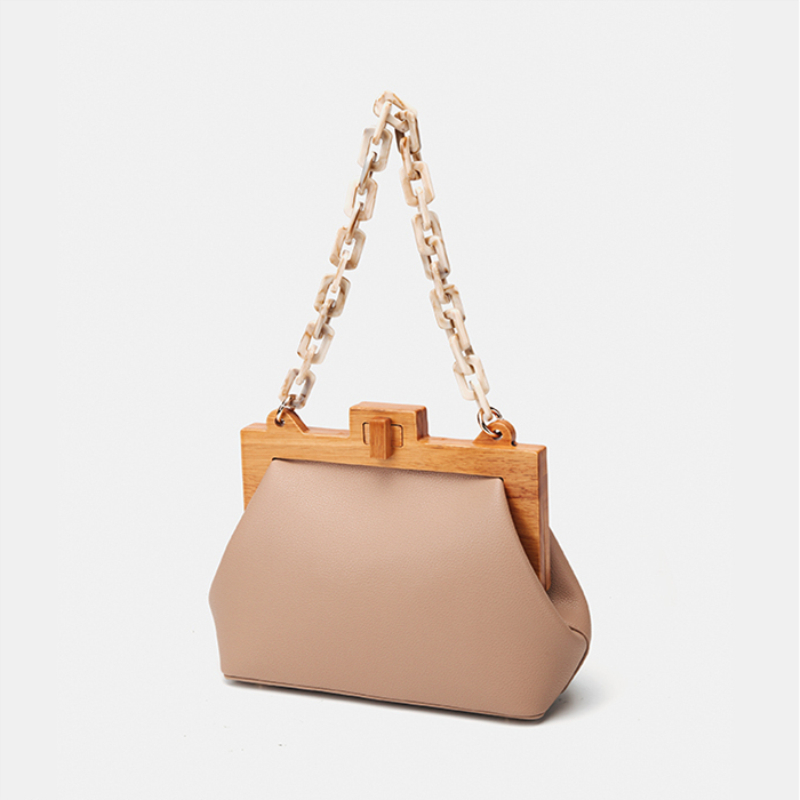 Acrylic Chain Women Bag INS Luxury PU Leather Handbags Spliced Wood Messenger Bucket Shoulder Bag