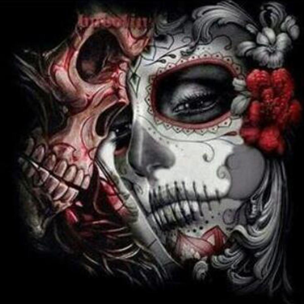YTG Full 5D DIY Diamond Painting Skull Skeletë qëndisje Round - Arte, zanate dhe qepje