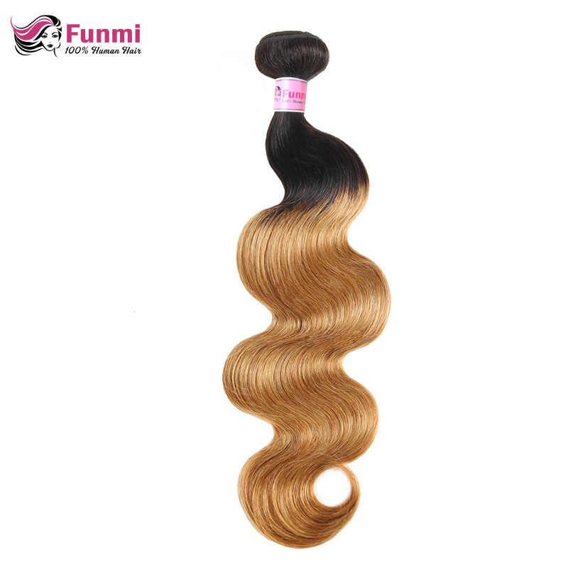 Ombre brasileño pelo virgen cuerpo onda paquetes 1/3/4 piezas Ombre cuerpo onda cabello humano Marrón claro color Natural Funmi pelo trama