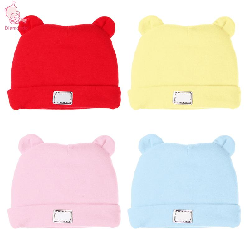 Lovely Winter Baby Hat Cotton Warm Kids Cute Bear Ears Knitted Children Baby Cap Winter Baby Beanie Hats Accessories 2018 Newest