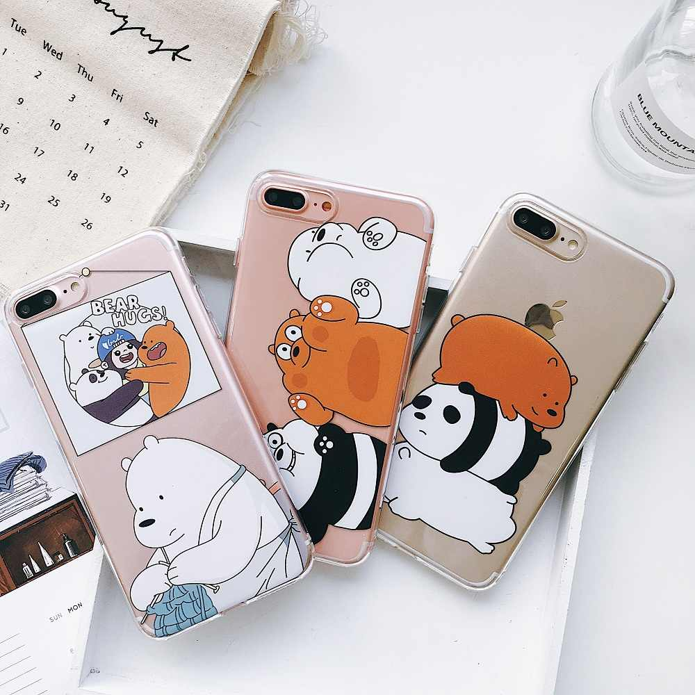 reputable site 68b07 229e1 We Bare Bears Phone Cases For iphone X XR Xs Max Case For iphone 7 8 6S 6  Plus Brown bear Giant Panda White bear Soft Back Cover