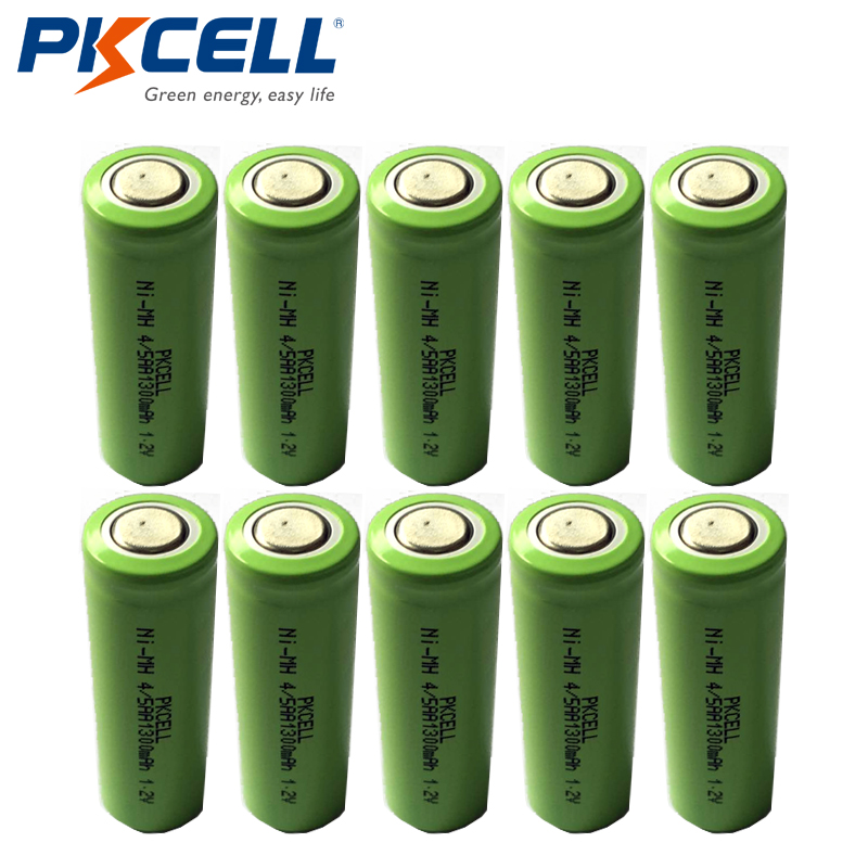 10pcs/lot PKCELL New 1.2V 4/5AA 1300mAh Ni-Mh 4/5 AA NiMh Rechargeable Battery Flat Top Industrial Batteries