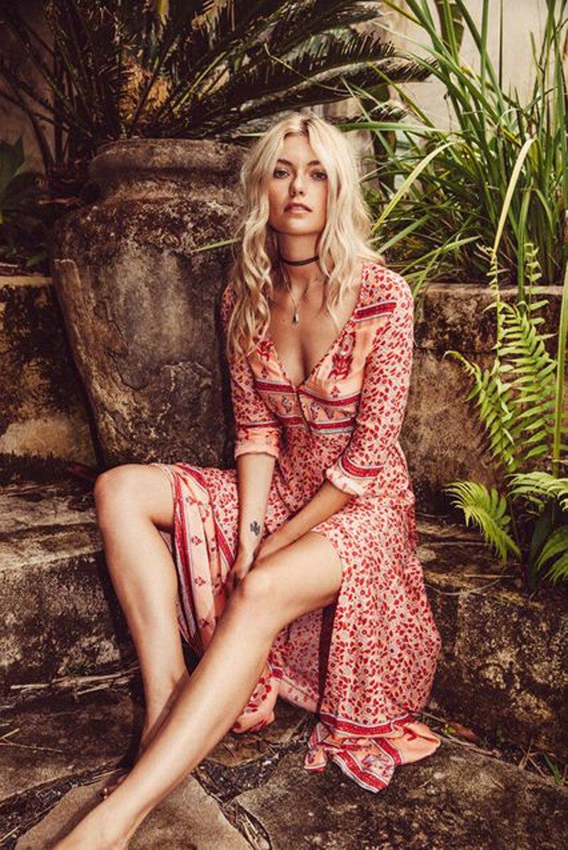 ForeMode longue Boho robe rayonne 2019 imprimé Floral sexy v-cou Hippie robes d'été chic plage femmes robe bohême wrap robes