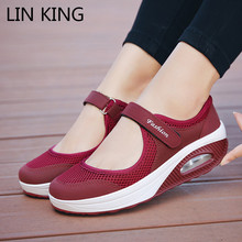 LIN KING New Plus Size 43 Кроссовки женские Bretahble Mesh Outdoor Casual Shoes Woman Fashion Vulcanize Shoes Ladies Tenis Кроссовки