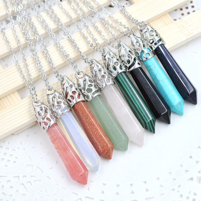 12pcs Quartz Stone Hexagonal Crystal Pendant Necklace Natural  howlite Silver Chain Gift Women Jewelry Accessories