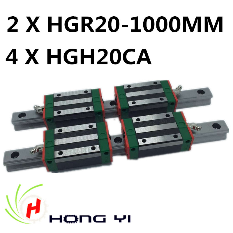 2pcs HIWIN Carril Linear Rail 1000mm Linear rails HGR20,+ 4pcs Rail Linear Block HGW20CA HGH20CA for CNC 2pcs hiwin carril linear rail 800mm linear rails hgr20 4pcs rail linear block hgw20ca hgh20ca for cnc