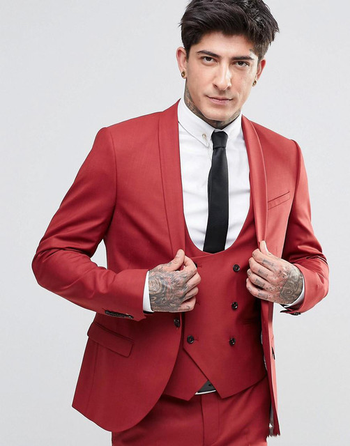 Aliexpress.com : Buy 2017 New Design Red Men Suit Slim Fit Shawl ...