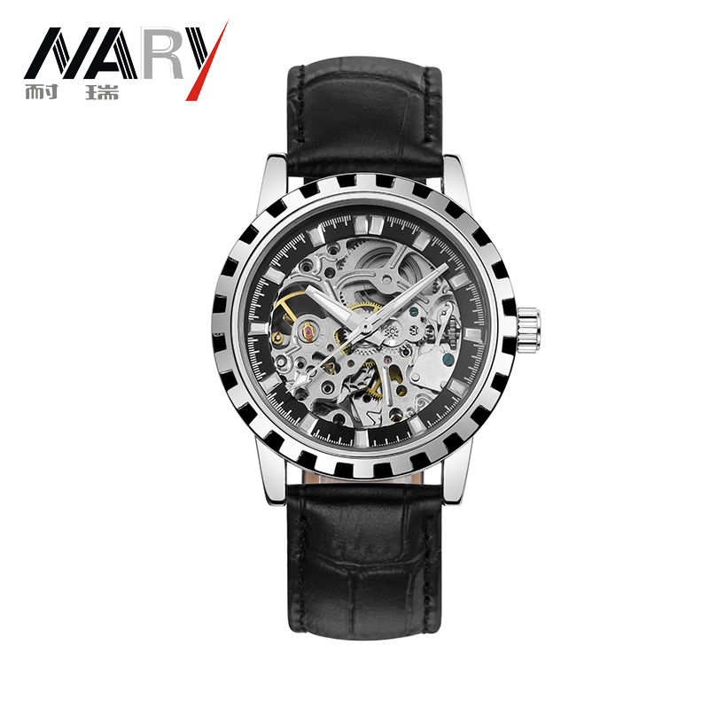2016 brand Luxury Sport men s Automatic Skeleton Mechanical Military Watch Men Silver full Steel Band