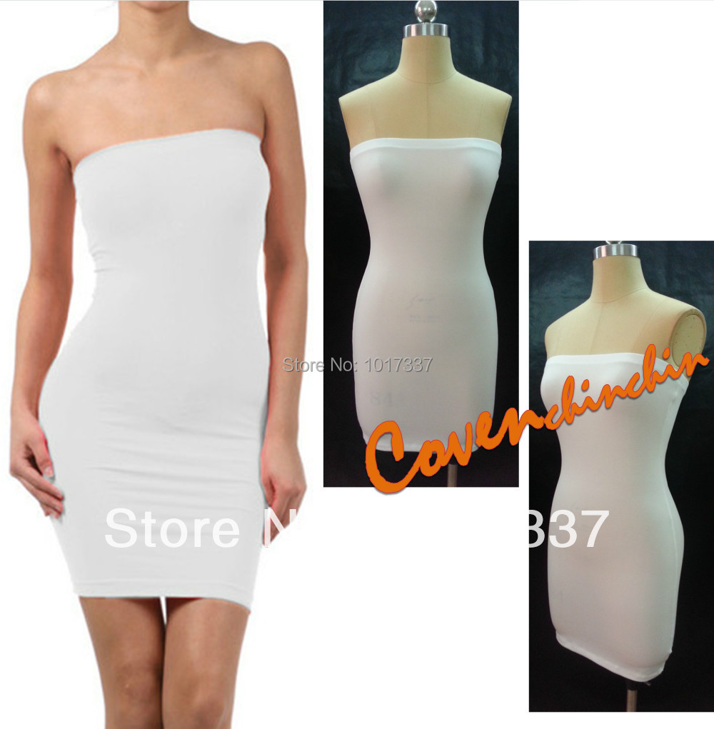 New Fashion Womens Basic Plain Off shoulder Tube strapless ...
