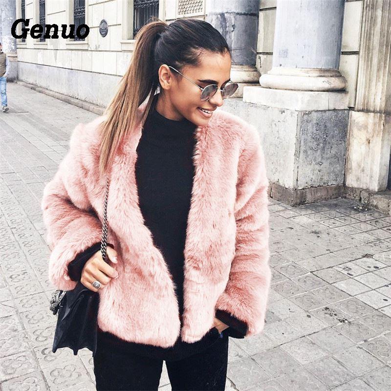 Genuo Faux Fur Coat Solid Color Winter Warm Long-Sleeved Overcoat Womens Fluffy Cardigan Women Jacket Top