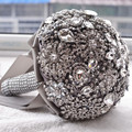 Горячие Роскошные свадебные аксессуары Брошь букет Кот Серый Кристалл Свадебный Букет Шелковый Свадебные цветы Свадебные Букеты
