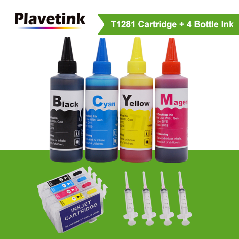 Plavetink Refillable Ink Cartridge For Epson T1281 Stylus SX130 SX230 SX235W SX420W SX425W S22 Cartridges + 400ml Ink Refill Kit