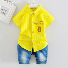 DIIMUU Toddler Summer Fashion Boys Clothes Infant Apparel Garments Children Boy Clothing Sets Striped Shirts Tops Pants Outfits