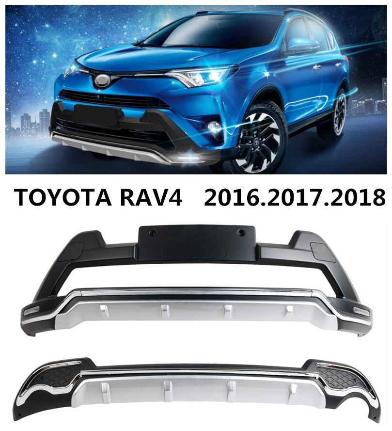 Auto BUMPER GUARD For TOYOTA RAV4 2016.2017.2018 Front+Rear BUMPER Plate Belt LED DRL High Quality Car Accessories