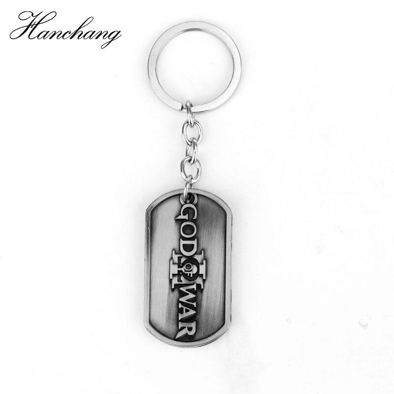 Games PS4 God of War Kratos Metal Keychains Mens Anime Key Silver Dog Tag Key Chain Keyrings Porte Clef Marque Llaveros Gift