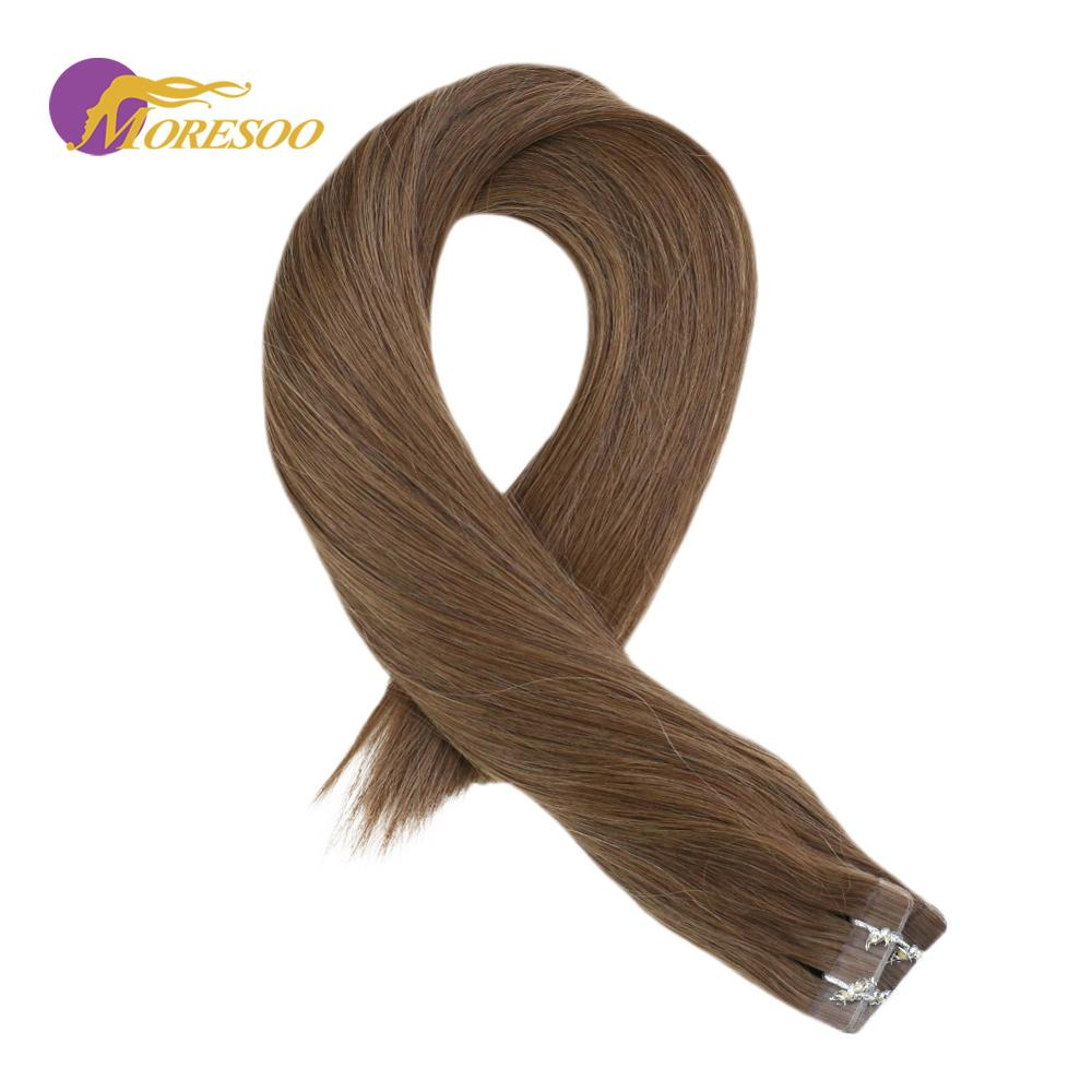 Moresoo Tape In Hair Extensions 100 Real Remy Brazilian Human Hair Brown Color #9A Skin Weft Tape In Hair Extensions 2.5g/pcs