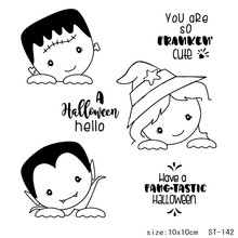 AZSG Slanted Halloween Ghost Vampire Clear Stamps/Seals For DIY Scrapbooking/Card Making/Album Decorative Silicone Stamp Crafts