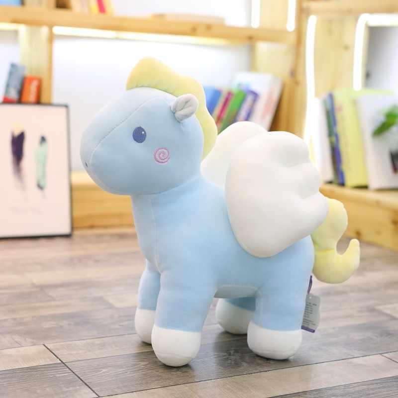 Lindo Ángel Rosa unicornio Kawaii felpa juguete suave peluche Animal muñeca caballo almohada bebé apaciguar juguete niños regalo de Navidad