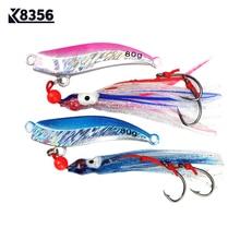 K8356 1Pcs 80g 100g Fishing Lures Lead Head Metal Bait Jigs Barbed Hook Jigging Artificial Bait Fishing Tackle Blue Pink