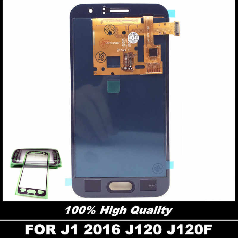 لسامسونج غالاكسي J120 2016 J120F J120H J120M شاشة الكريستال السائل مجموعة المحولات الرقمية لشاشة تعمل بلمس ملصقا الزجاج شاشات الكريستال السائل استبدال