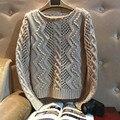 2017 Direct Selling Moda O-pescoço Pulôver de Lã Alpaca Poncho Uma Nova Primavera Manual Prego Talão De Crochê Camisola de Malha Torção Oco