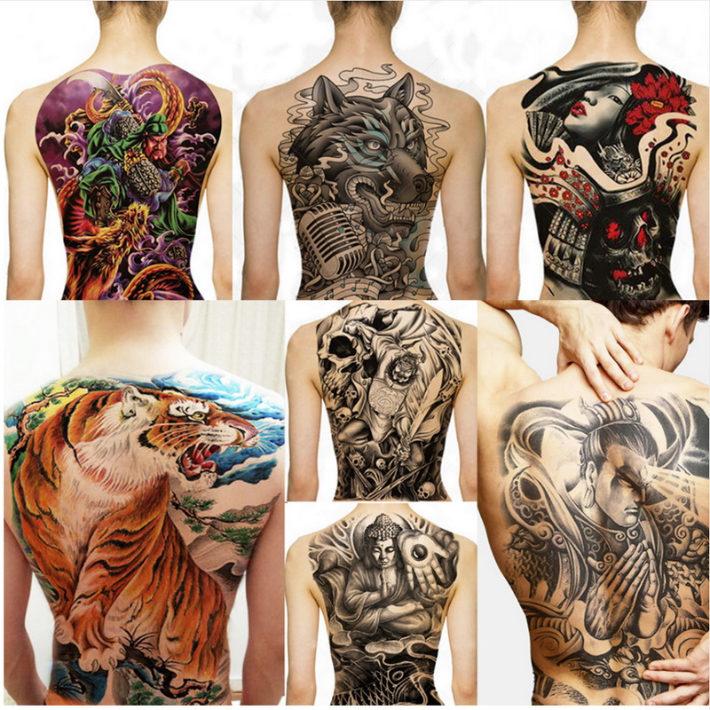 Big Large Full Back Chest Tattoo Large Tattoo Stickers Fish Wolf Tiger Dragon Waterproof Temporary Flash Tattoos Cool Men Women