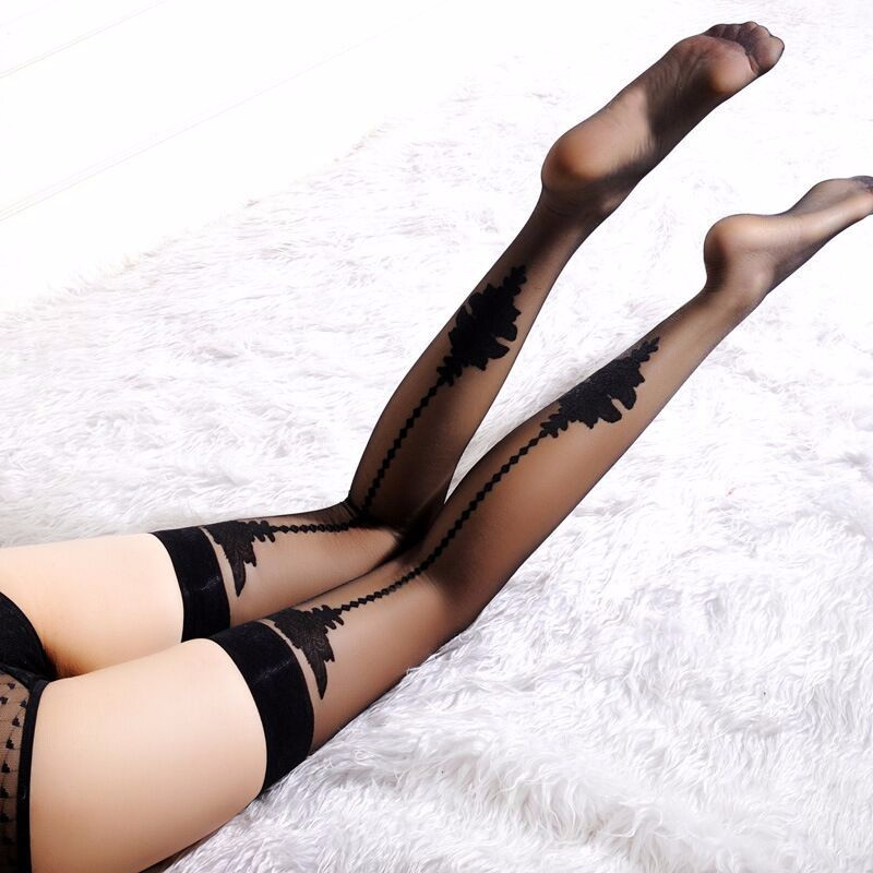 Ultra Thin Printed Sexy Women Nightclub Lingerie Over Knee Stockings High Quality Tights