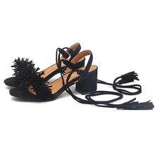 Женщины Сандалии дамы бахромой обувь Плюс Размер 35-41 2017 Новый жаркое Лето Mid высоком Каблуке Повседневная Босоножки Сандалии Женская Обувь Черный красный