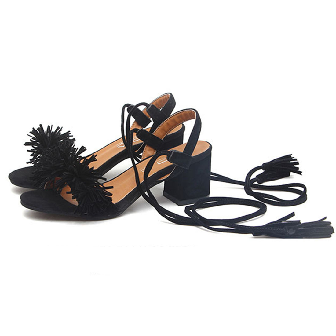 Black dress sandals medium heel - Women Sandal Ladies Fringe Shoes Plus Size 35 41 2017 New Hot Summer Mid High