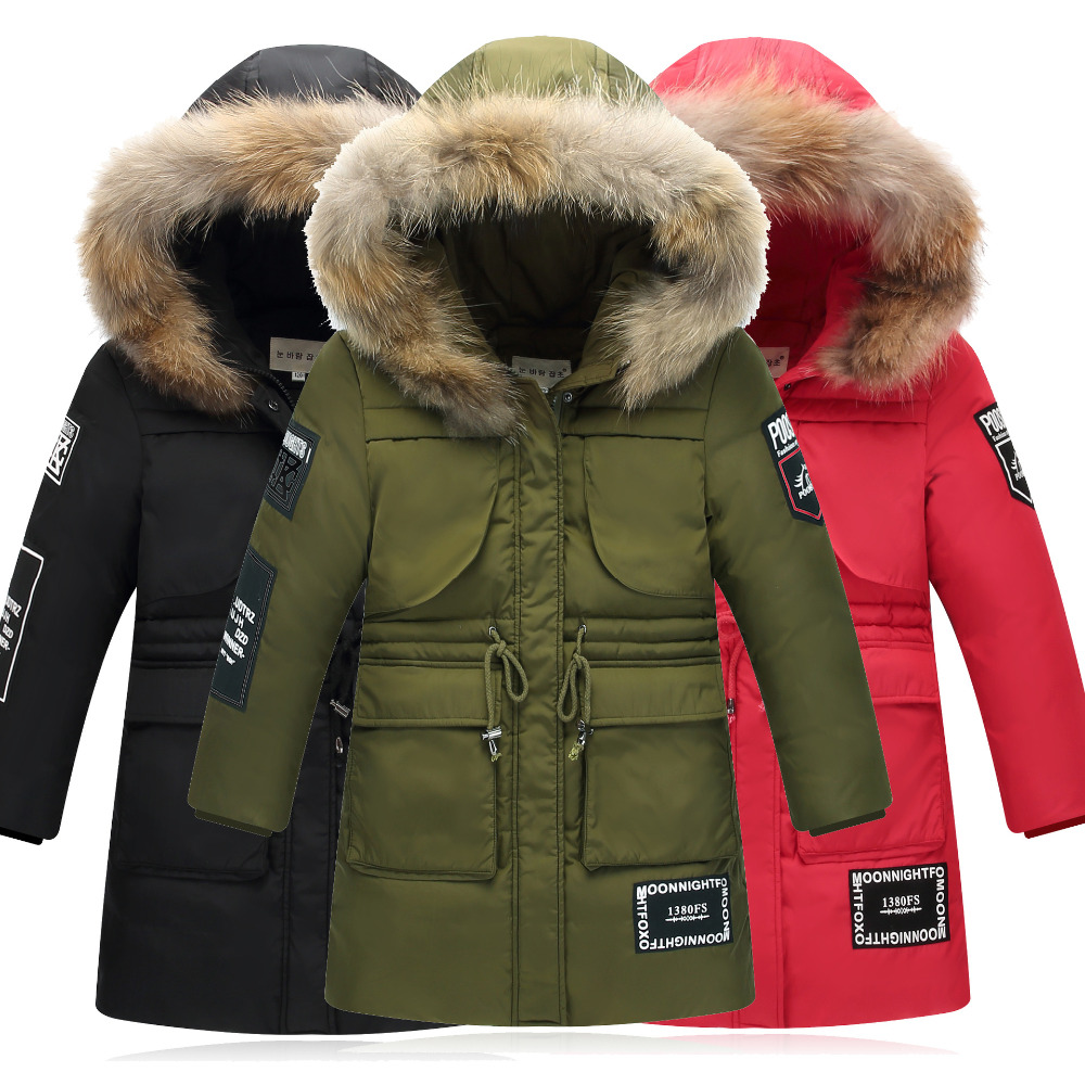 цена на High Quality 2017 NEW Fashion Winter Boys Thick Warm Down Jacket For Children 6-14 Y Clothing Outerwear Kids Hooded Down Coat