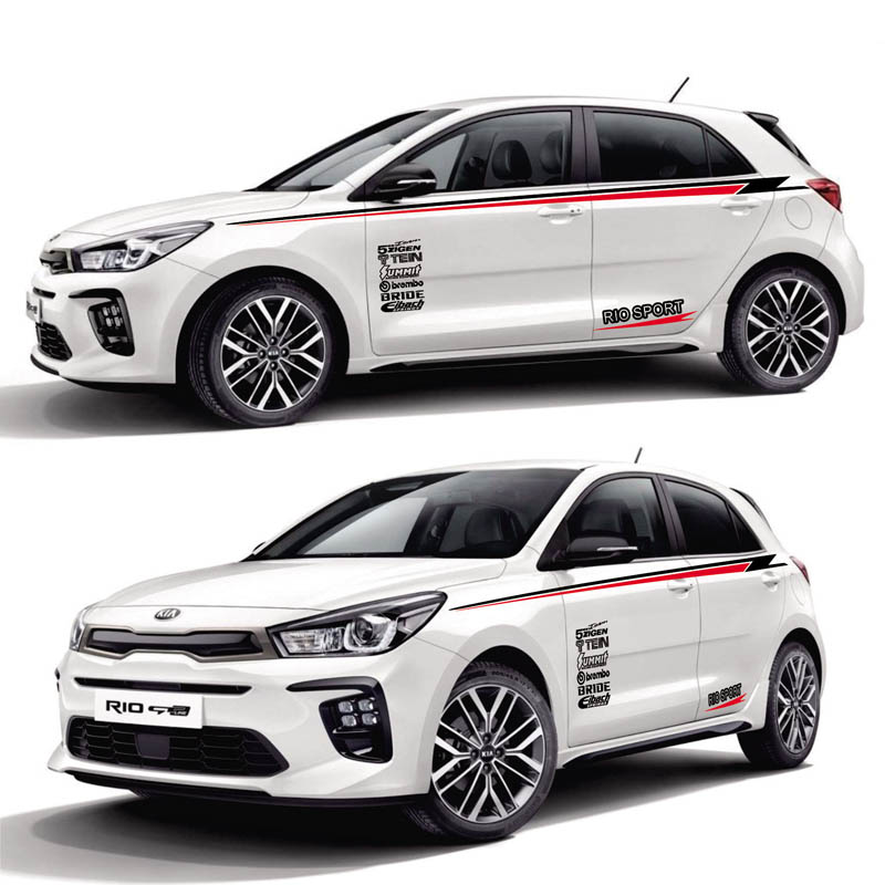 World Datong Sport Stripes Car Stickers For KIA RIO car Both side body Customized Decal sport auto stickers in Car Stickers from Automobiles Motorcycles