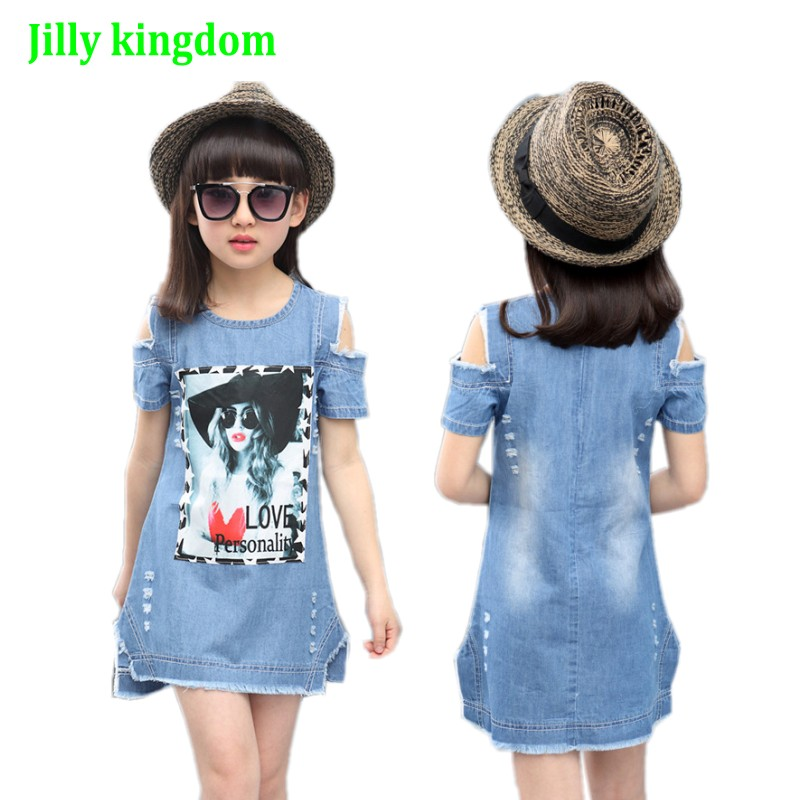 Children Dresses For Girls Denim Dress Summer Strapless Dress Pattern Girls Clothing Short Sleeveless Child Clothes Denim