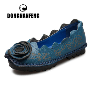 Image 1 - DONGNANFENG Women Mother Female Ladies Shoes Flats Loafers Cow Genuine Leather Round Slip On Pigskin Floral Flower 35 42 XR 1