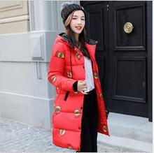 2017 winter new Korean women's cotton in the long paragraph clothing fashion Slim printed coat thickening jacket