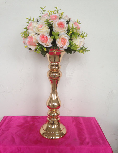New Arrival Height 53 Cm Gold Wedding Table Centerpieces Vase