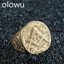 Olowu мужские кольца золотого цвета из нержавеющей стали металлические Литые кольца уникальная фигура масонство каменщик ювелирные изделия для мужчин панк