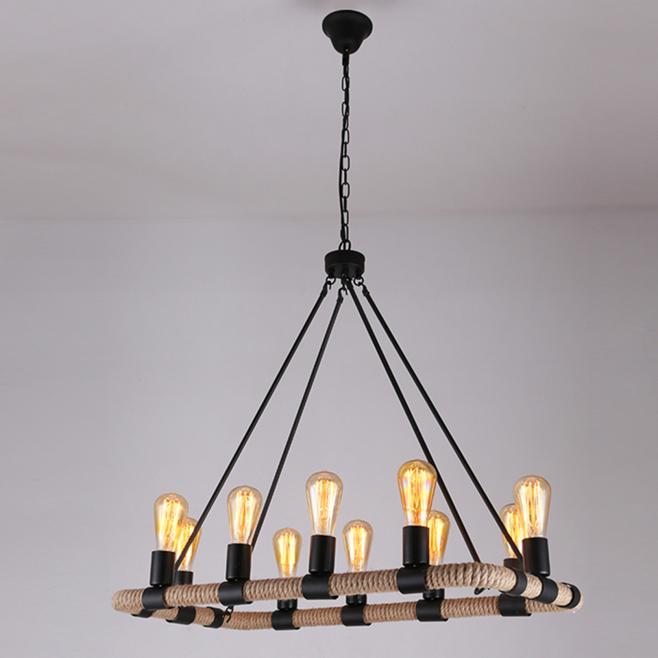 Hemp Rope Pendant Lighting Lamp Lights Wrought Iron Retro American Country Cafe Lamps And Lanterns PLHR14 Free shipping free shipping ems fashion big pendant light wrought iron lighting stair lamp double layer house lights fashion lamps