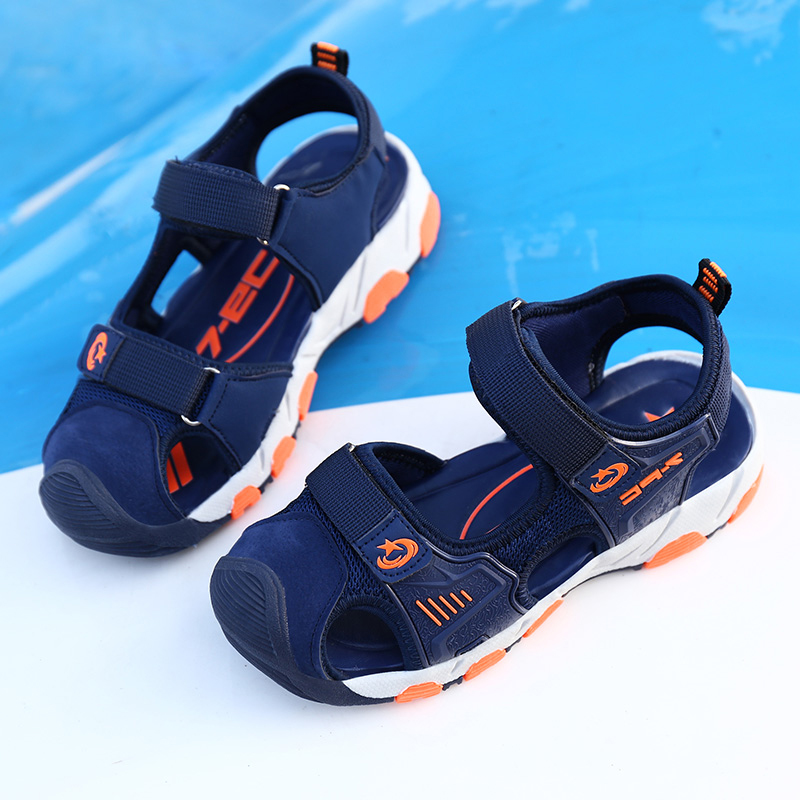 HOBIBEAR Boys Sandals For Kids Beach Shoes Summer Children Shoes Water Sandals Breathable Cut-outs Ankle-Wrap Leather sandalia