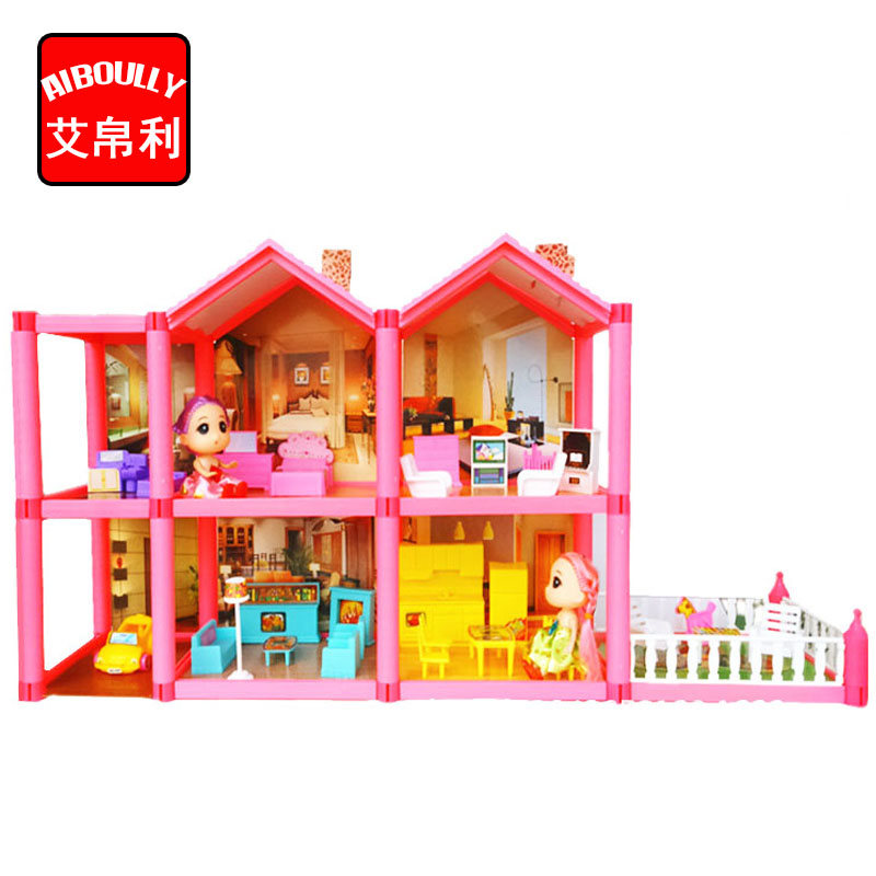 AIBOULLY NEW DIY dollhouse assemble villa plastic Miniatura Doll House Furniture 3D Miniature Dollhouse Toys Gits for girls large size diy wooden miniatura doll house with light music furniture handmade 3d miniature dollhouse toys wedding gits