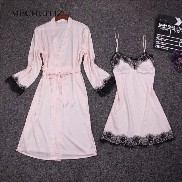 10ab5d28a40 MECHCITIZ Female Sexy Bra Pajamas Silk Bathrobes Dress Nightgown Female Two  Piece Nightdress Lace Robes Clothing