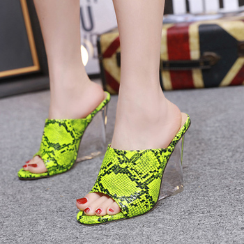 Women's Sandals Crystal Wedge Snake Women's Slippers 2020 New Super High Heels Wedges Shoes For Women Color Wear Ladies Shoes 1