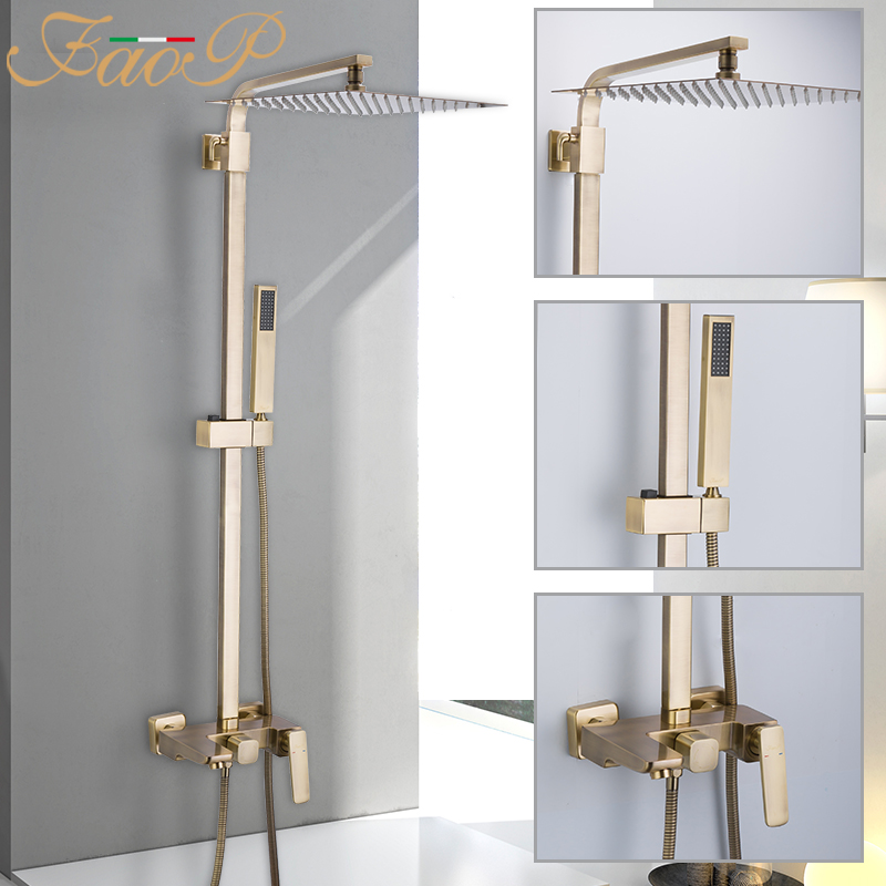 FAOP shower system hot and cold bathroom faucet mixer water taps shower faucet taps waterfall faucet wall mounted shower sets