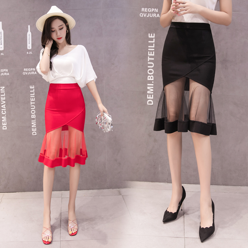 Fashion Women Basic A-line High-waisted Voile Skirts 2019 Spring Summer New Arrivals Female Casual Black Red Skirts Bottoms