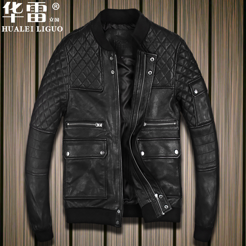 Genuine sheep leather slim men's motorcycle leather jacket male sheepskin leather