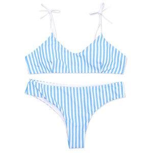 Женский купальник, бикини в синюю полоску